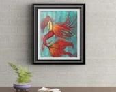 Angel Mermaid Signed Art Print of Signature Original By Rafi Perez