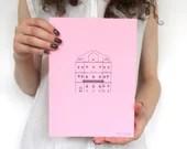 Letterpress house print, letterpress illustration, typography illustration, signed art print, letterpess poster, pink