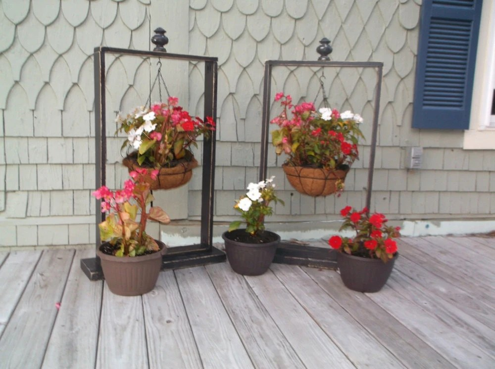 Rustic Hanging Basket Stand Plant Stand Plant by SameAsNever on Plant Stand Hanging  id=63161