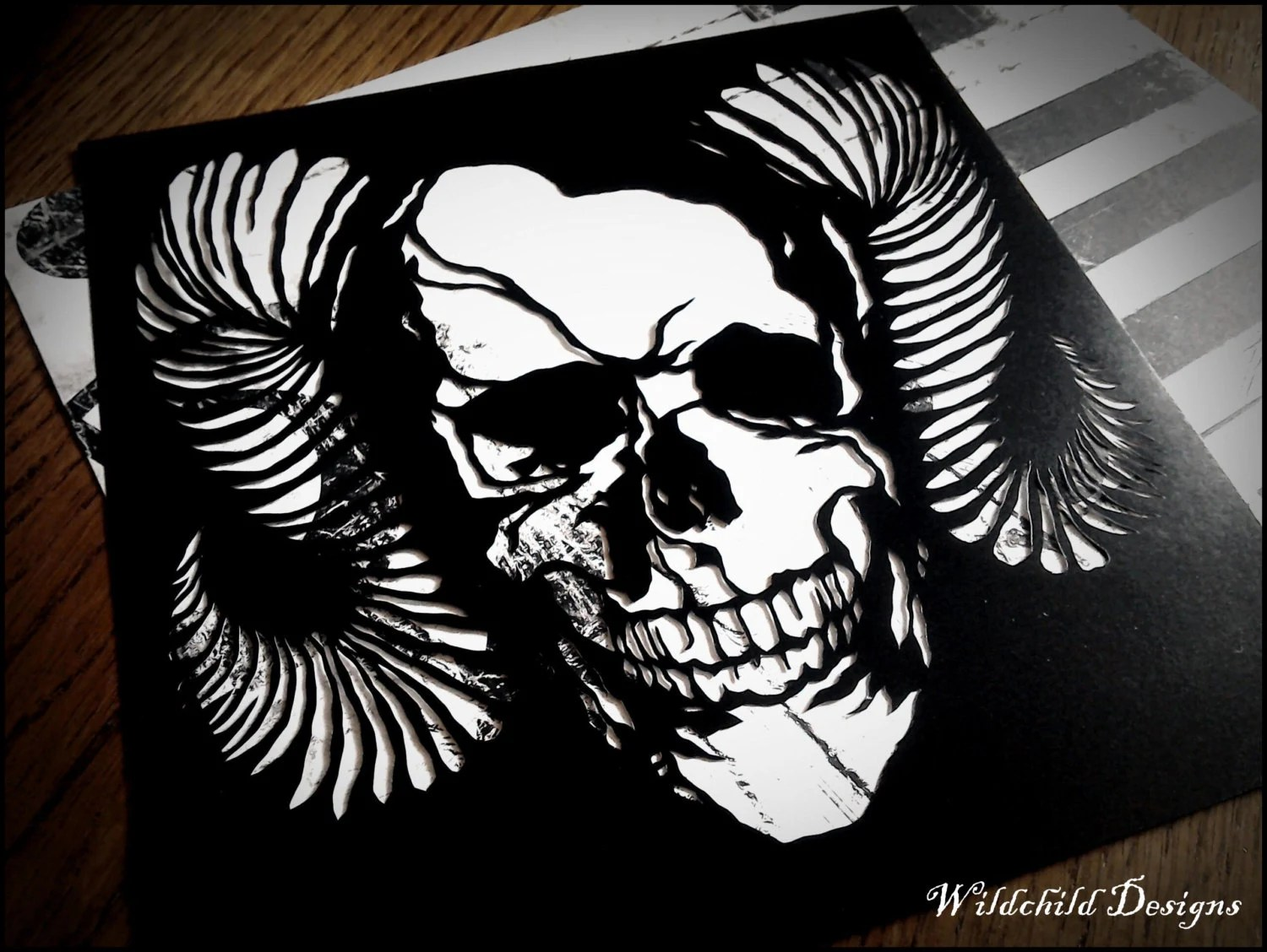 Gothic Horned Skull Tattoo Style Paper Cut Template For