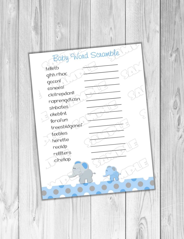 Word Scramble Baby Shower Game Blue Elephant Printable