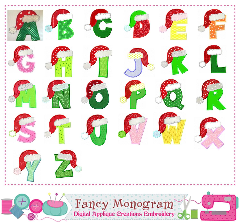 Christmas Letters Appliquesanta Claus Monograms
