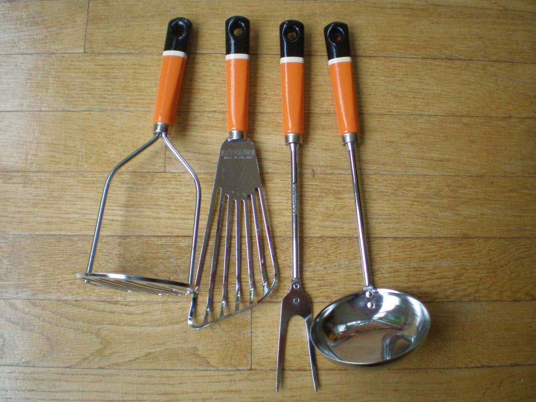 Vintage Nutbrown Wooden Handled Kitchen Utensils Matching Set