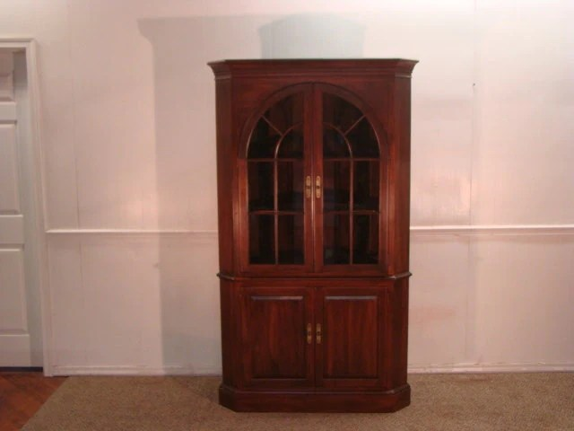 Kling-Ethan Allen Solid Cherry Corner China Cabinet