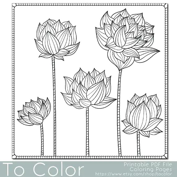 items similar to floral lotus flower coloring page for
