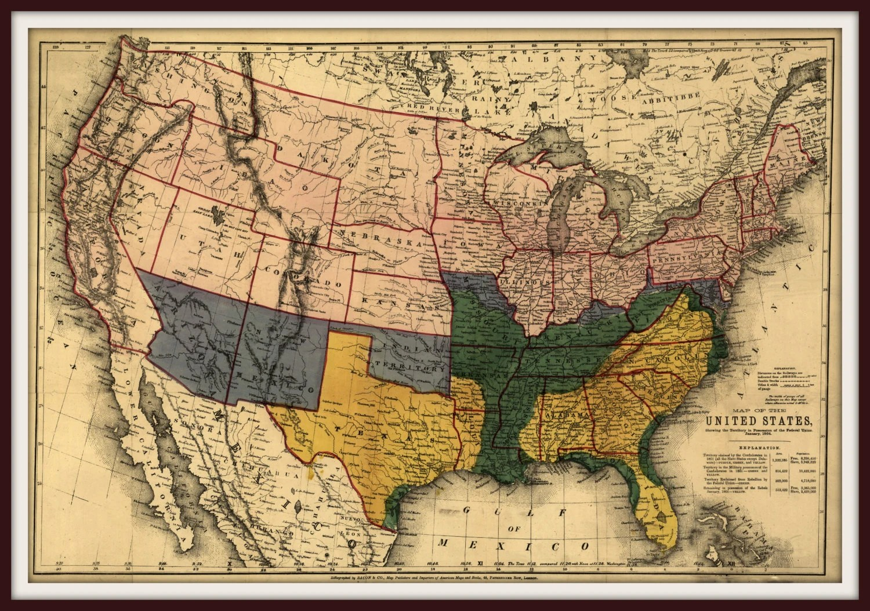 Civil War Territory Possessions Us Map Vivid Colorful Civil