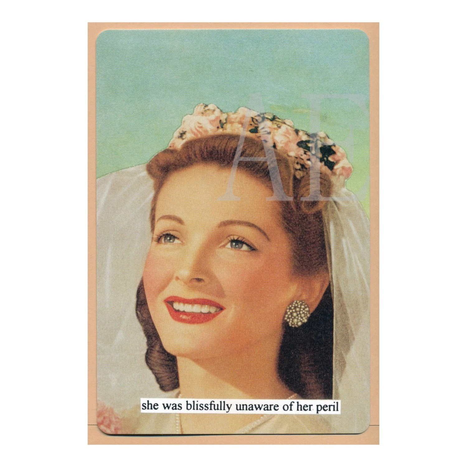 ATPC52 Anne Taintor Postcard Magnet She Was Blissfully