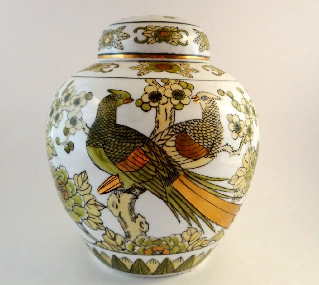 Ginger Imari Japan Jar Hand Painted Gold