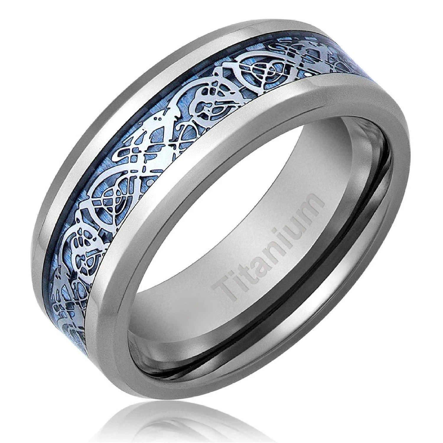Mens Celtic Dragon Titanium Wedding Ring Engagement Band