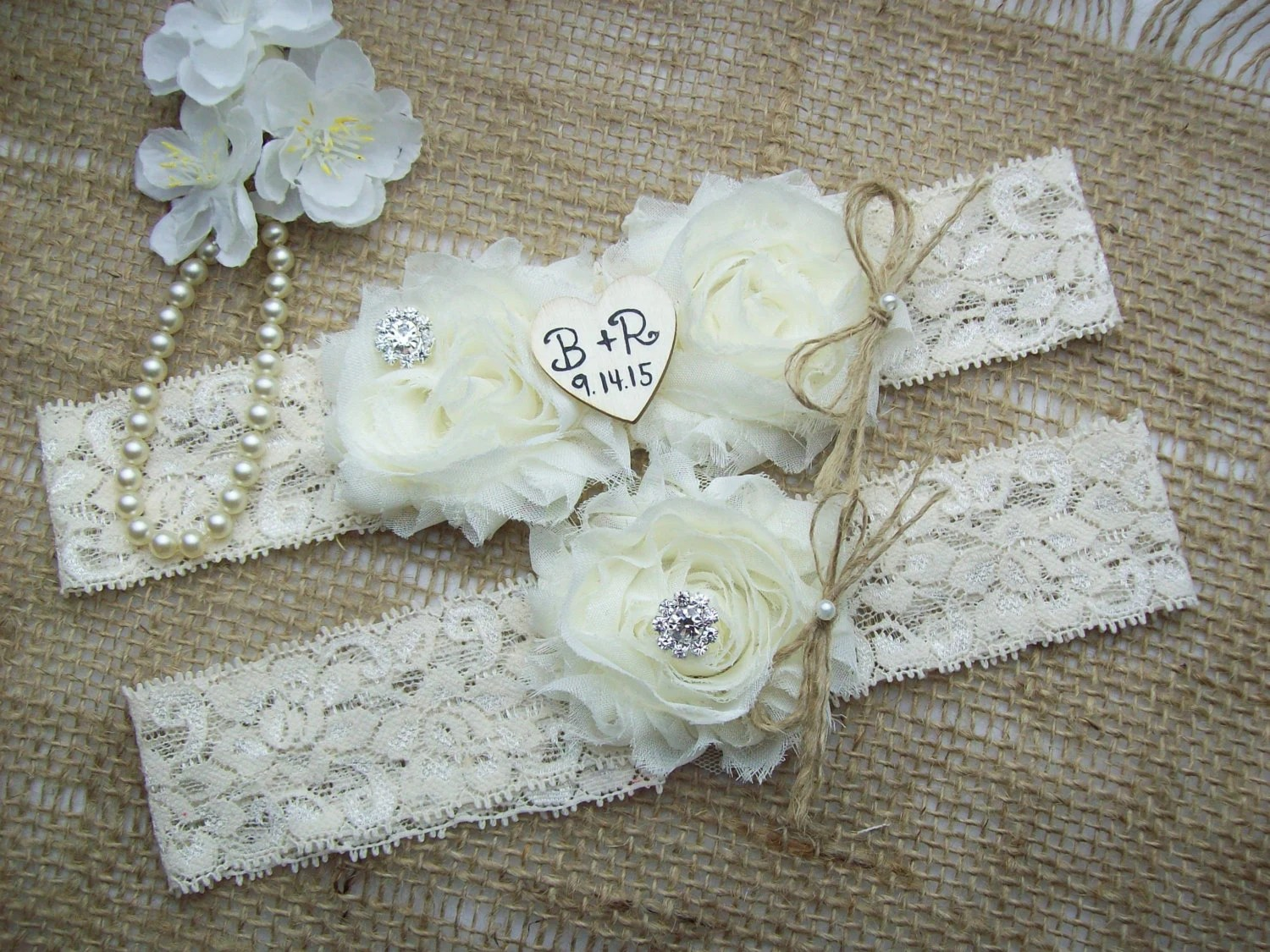 Rustic Personalized Wedding Garter By Smelltheroseboutique