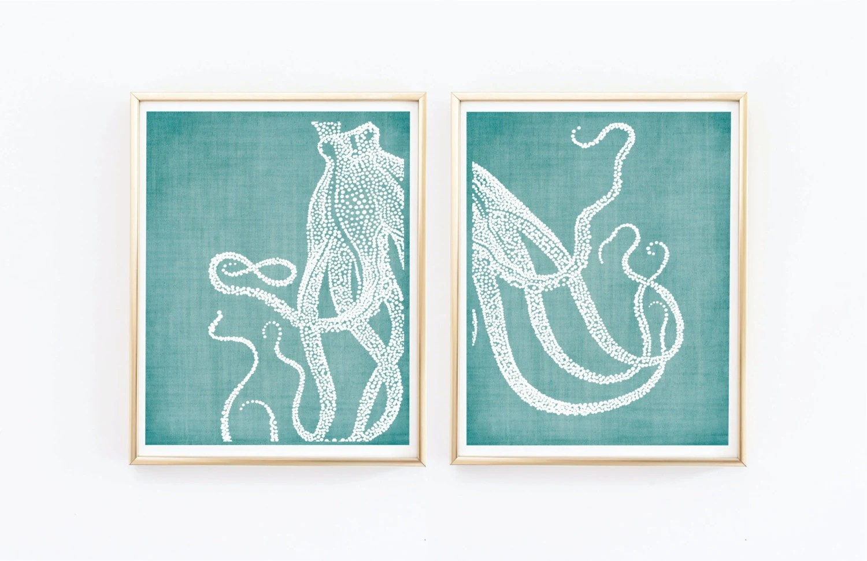 Octopus Prints Coastal Wall Decor Beach Decor Nautical