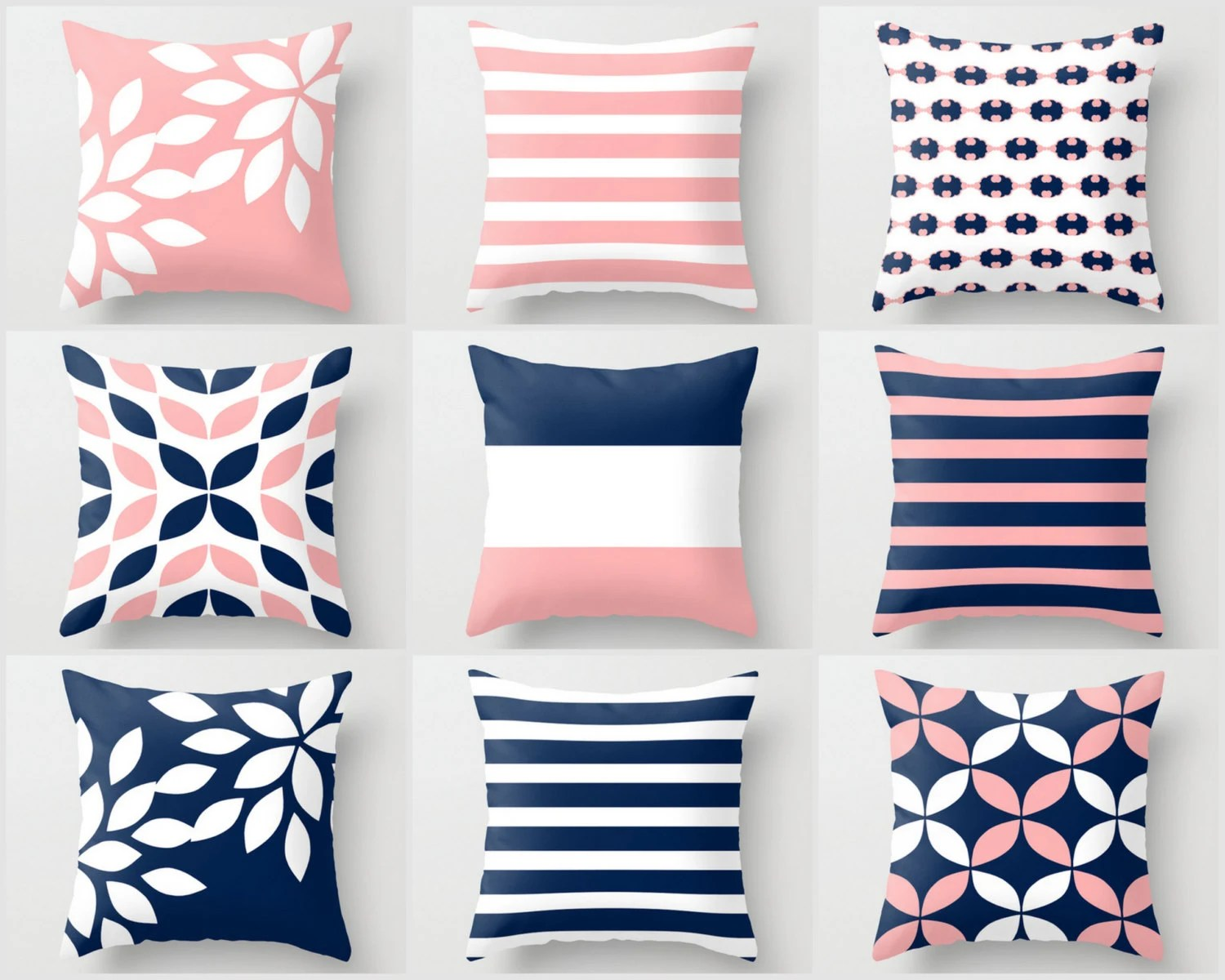 Pink Navy Pillow Pillow Covers Cushion Covers Throw Pillow