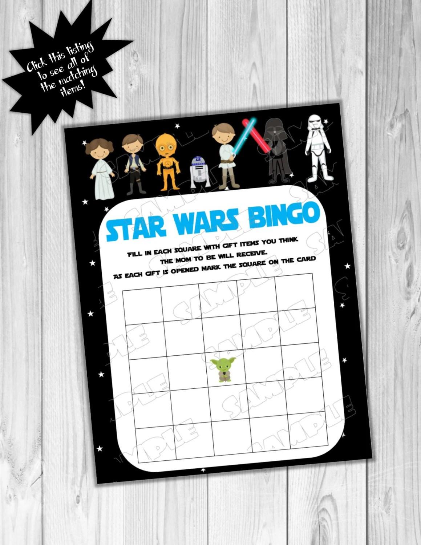 Starwars Baby Shower Games Star Wars Bingo Game Printable