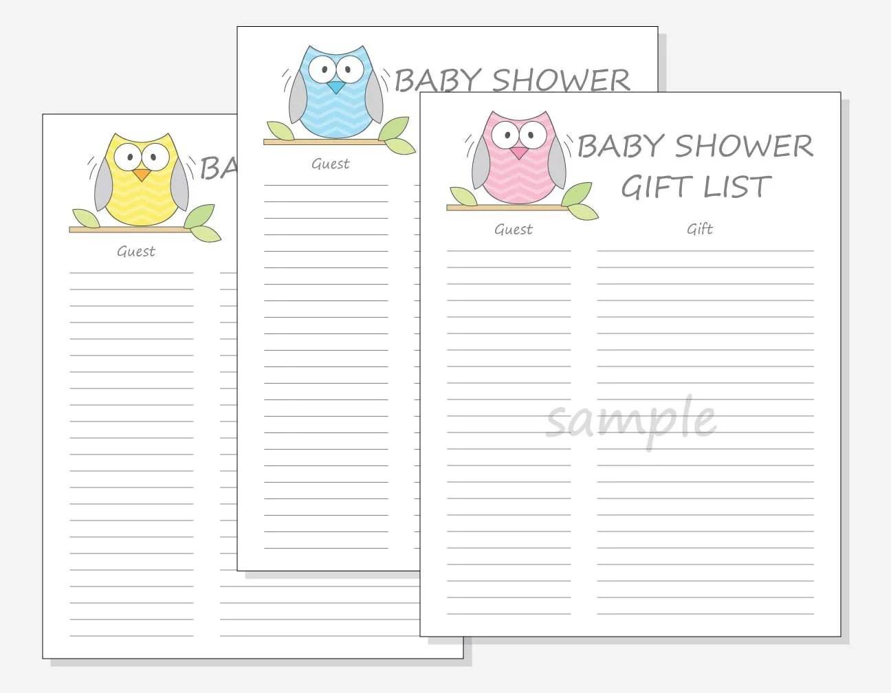 Diy Baby Shower Guest T List Printable Chevron Owl Design