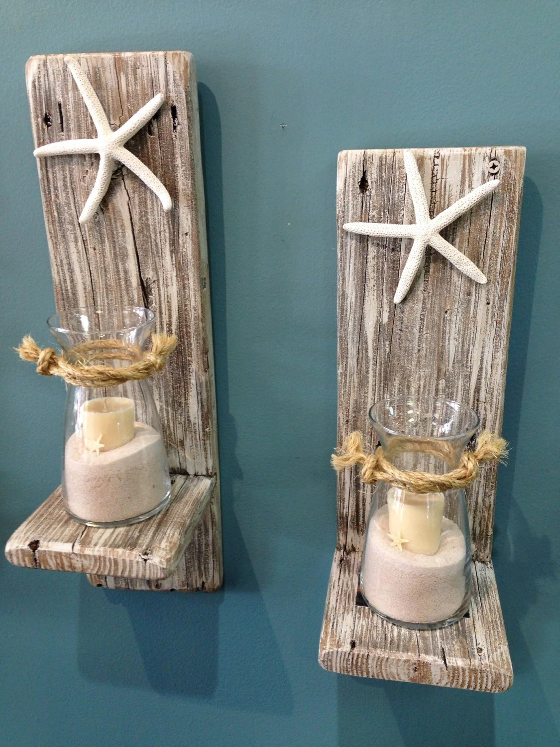 Set of 2 Reclaimed Wood Sconces with Starfish-Wall on Wood Wall Sconces id=50686