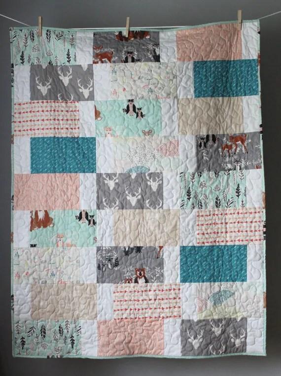 Gender Neutral Baby Quilt Woodland Baby Quilt By Gobewonderful