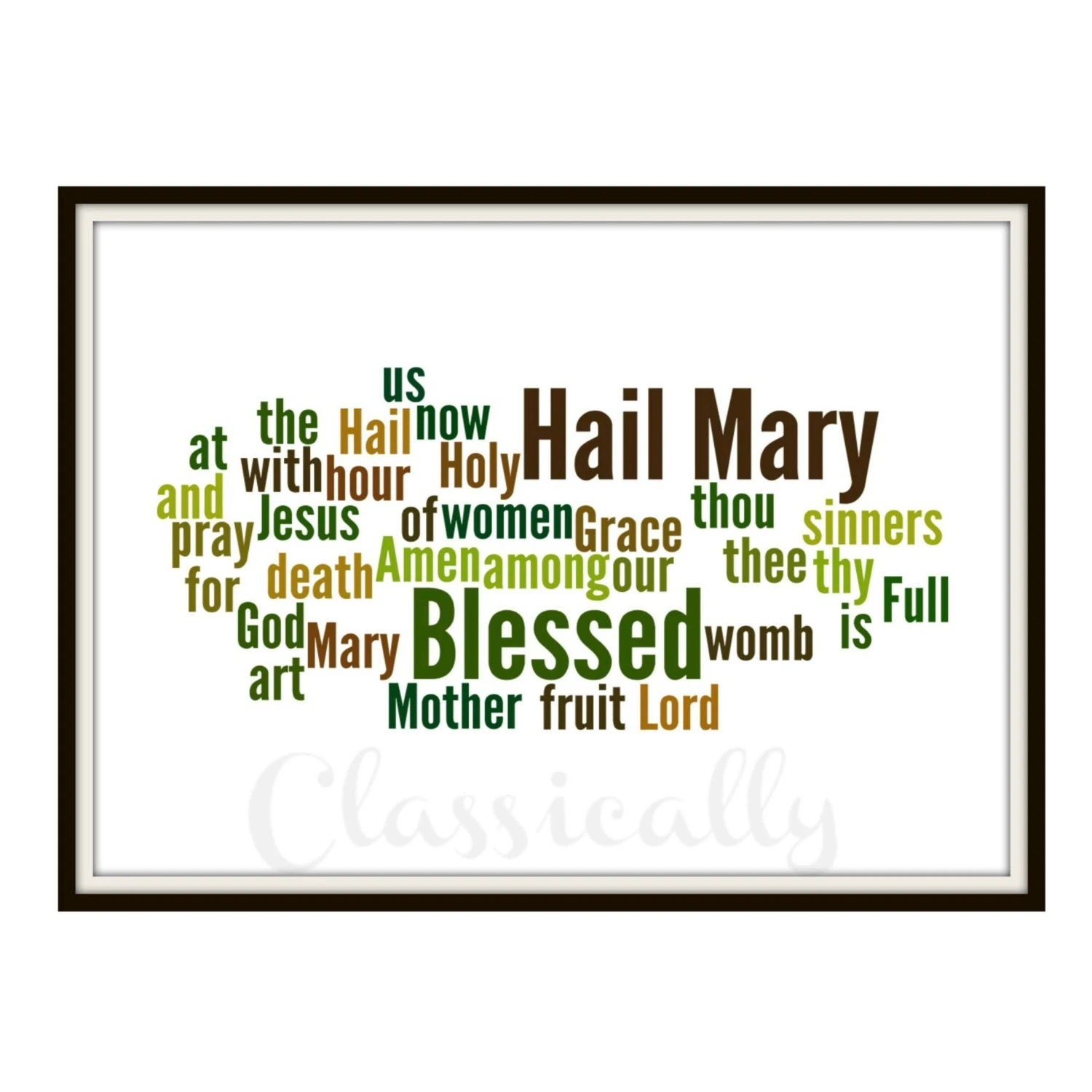Hail Mary Print Word Cloud Catholic Prayer By Classicallyprinted