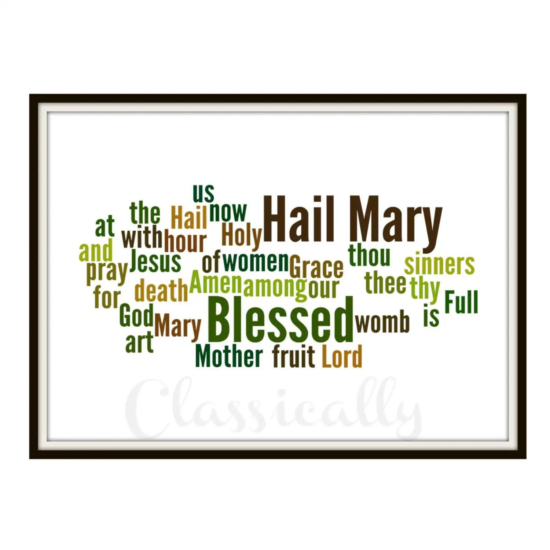 Hail Mary Print Word Cloud Catholic Prayer By