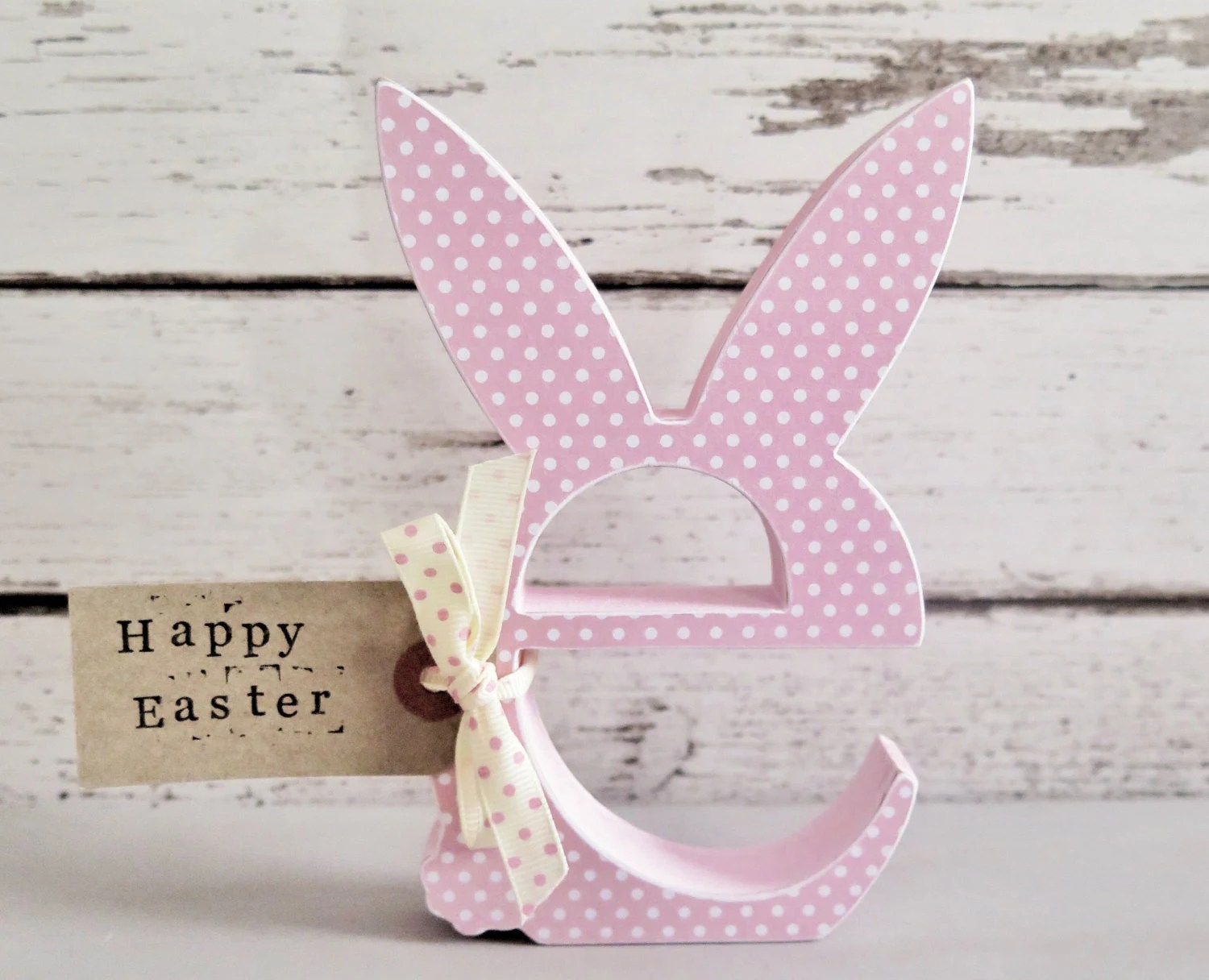 Pink Pastel Easter Decoration Wooden Letter E With Bunny