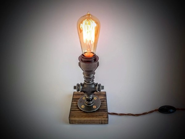 Bedroom table lamp Plug in night light Rustic table lamp