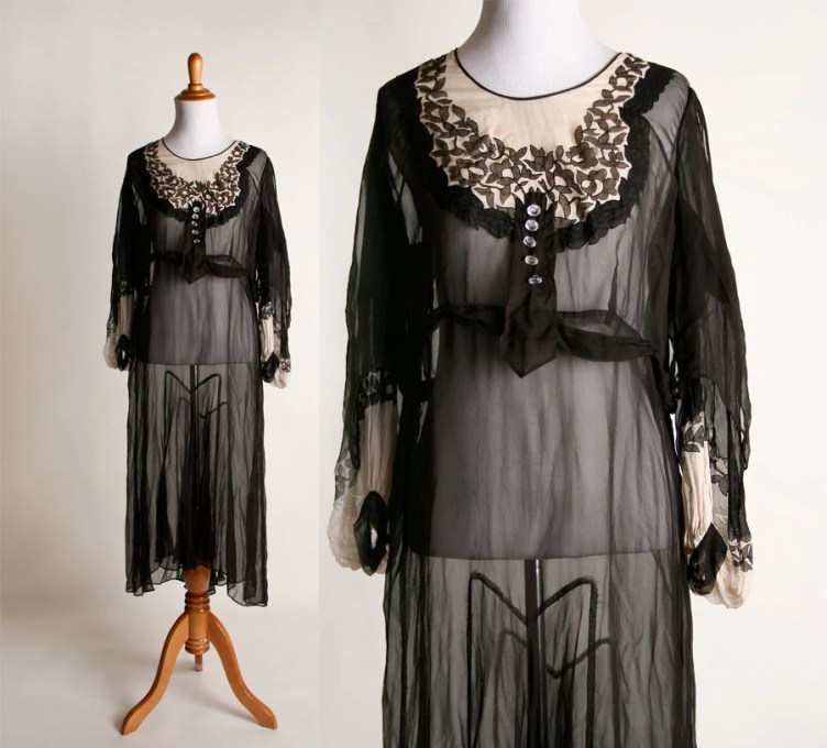 Vintage Sheer 1920s Dress Black and Nude Long Sleeve Flapper