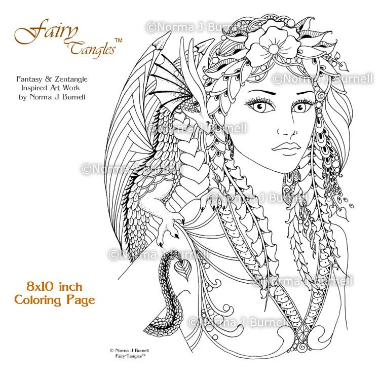 Fira Amp Drake Fairy Tangles Printable Coloring Book Pages By