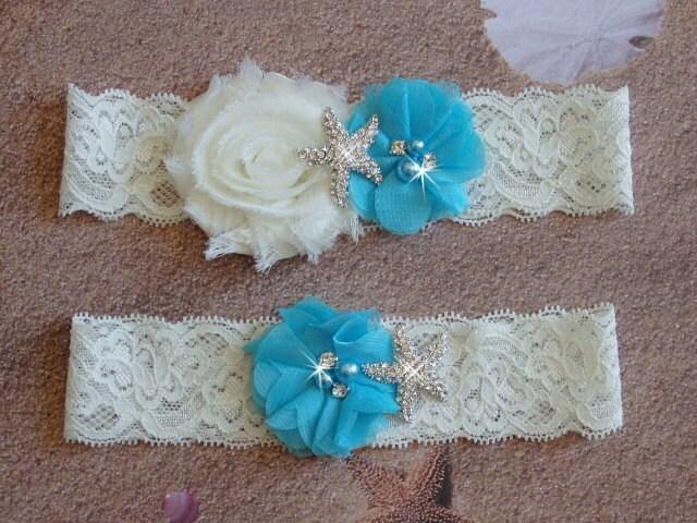 Aqua Beach Wedding Garter Starfish Bridal Garter White Or