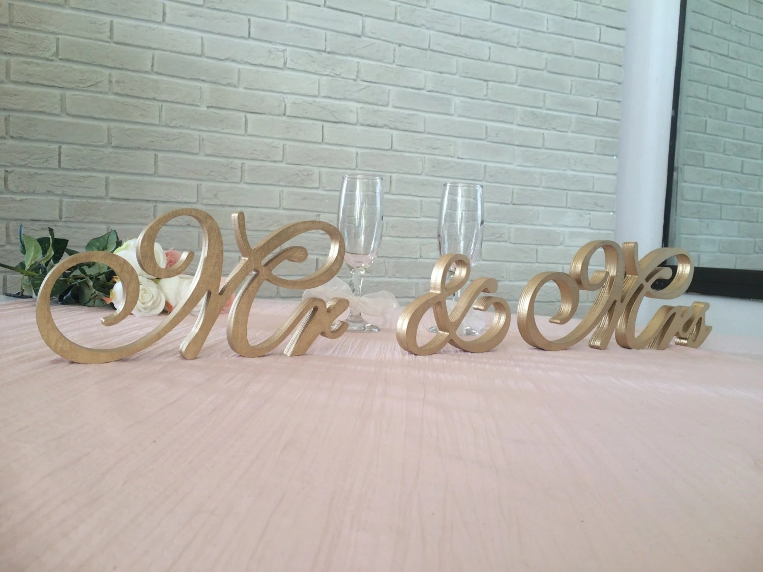 GOLD Mr. & Mrs. Wooden Freestanding Letters Top Table