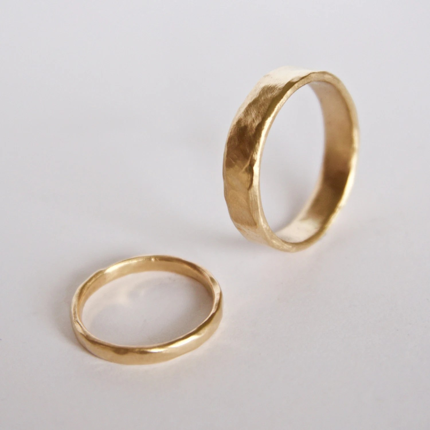 Two Organic Shape Gold Rings Wedding Ring Set Two Textured