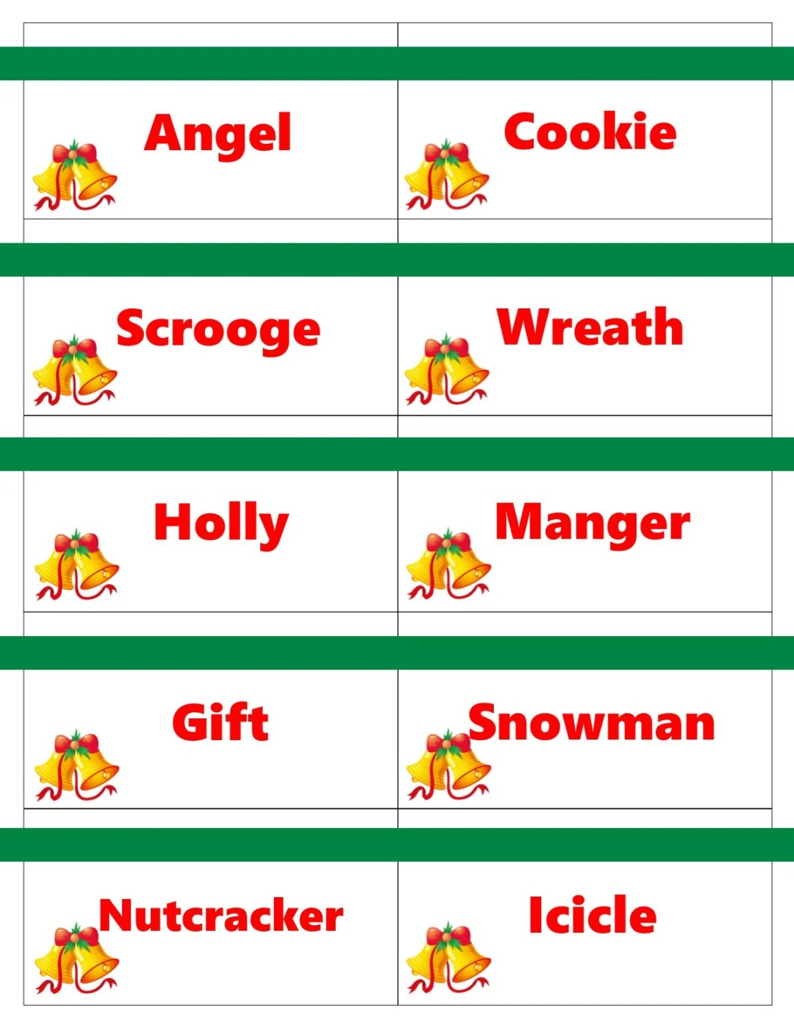 Printable Christmas Game Cards For Pictionary Or Charades