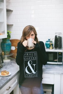 Coffee & Cuddles Women's Black Long Sleeve Graphic Tee Shirt