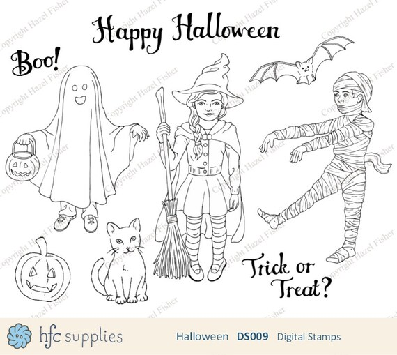 Items similar to Halloween Digital Stamps set; Trick or ...