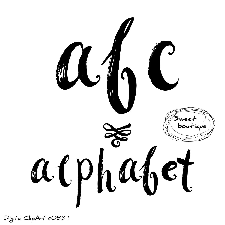 Brush Alphabet Digital Alphabet Alphabet Font Clip Art