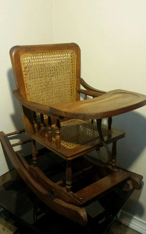 Antique Vintage Childs Oak High Chair Rocker Rocking