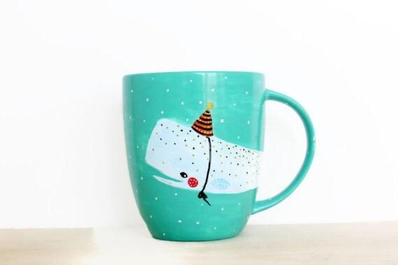 Whale Mug Party Hat - Handpainted original illustration - Tea Coffee Cup Seagreen - Porcelain Mug - Fine Bone China Kawaii
