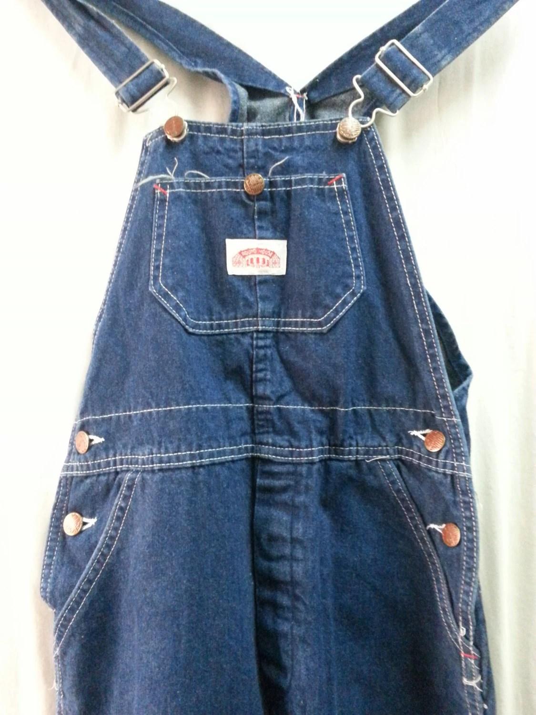 Vintage round house denim carpenter bib overalls size usa made haute juice - Roundhouse bib overalls ...