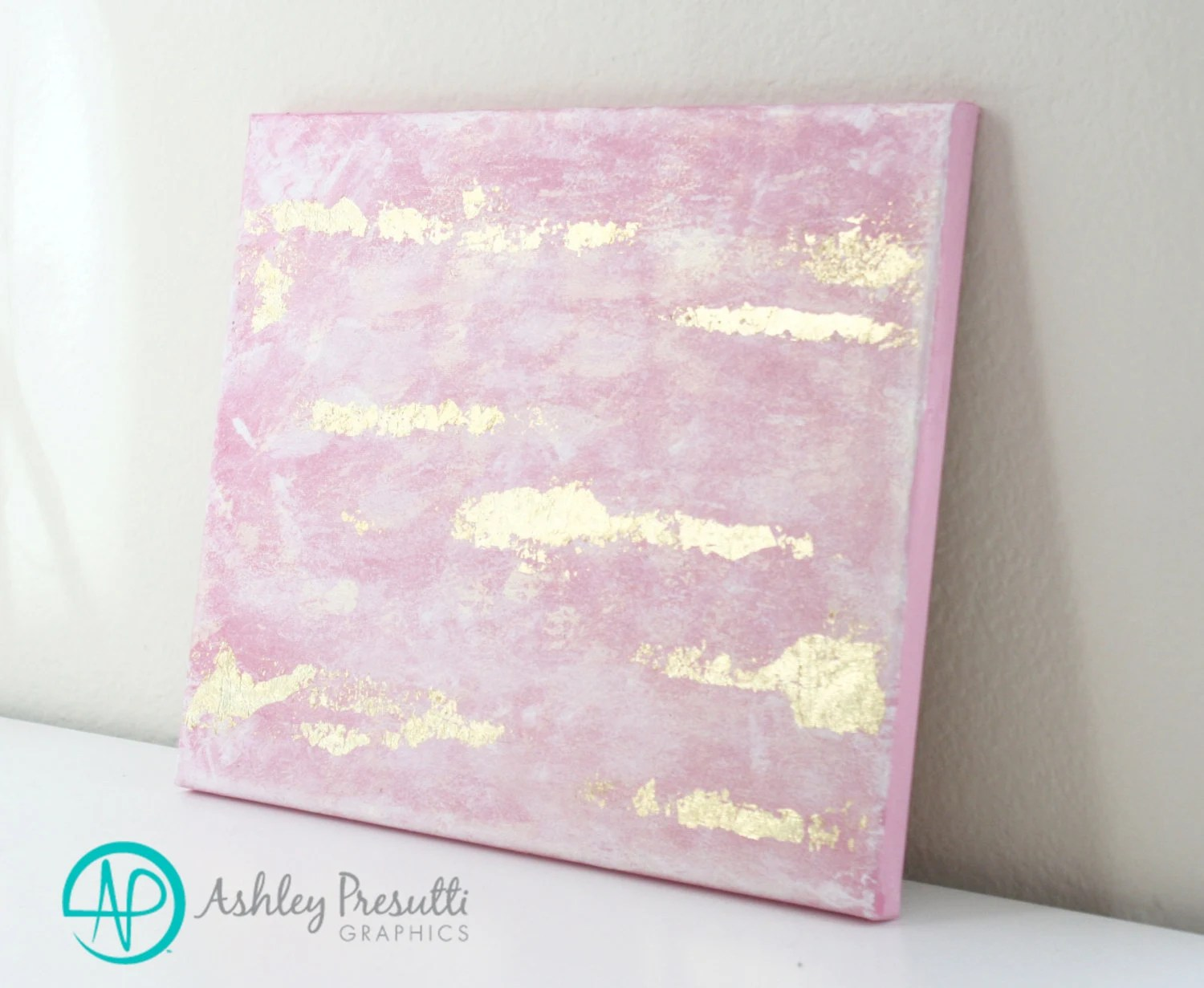 Pink & Gold Leaf Original Canvas Painting Abstract