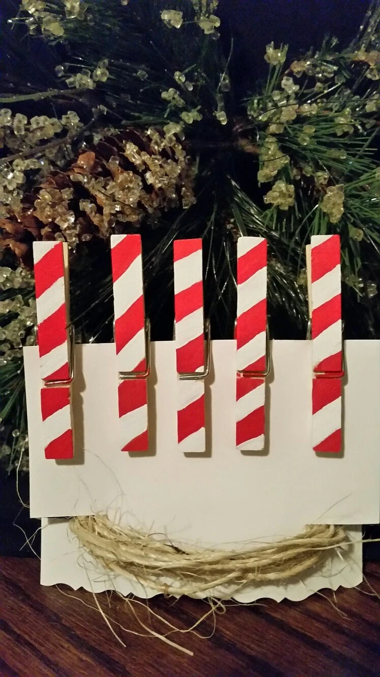 Candy Cane Christmas Card Holder Clothes By