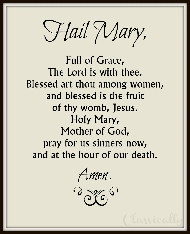 Rosary Hail Mary Prayer Worksheet