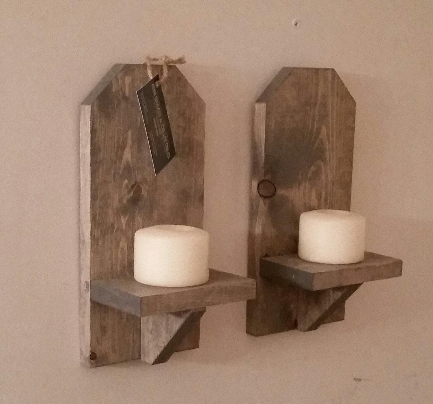 Rustic Wood Wall Sconce Pair // 12 Wall Sconce on Wood Wall Sconces id=37602