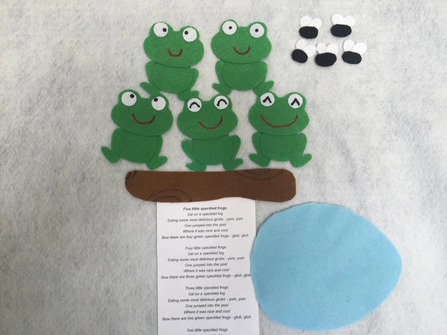 Five Little Speckled Frogs Felt Board Activity Set Flannel