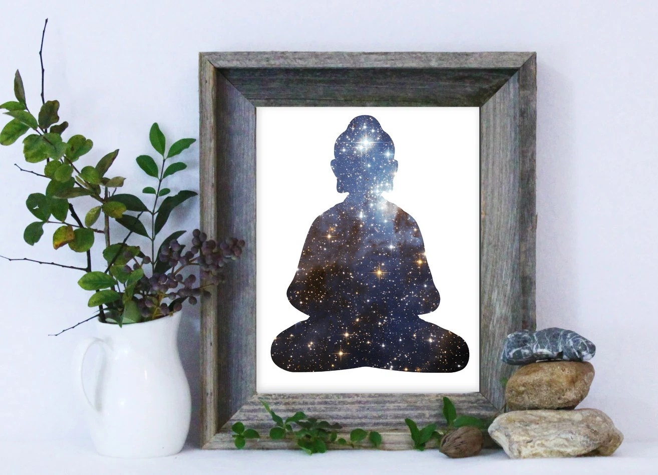 Buddha Print / Buddha Wall Art / Buddhism Art / Galaxy Print