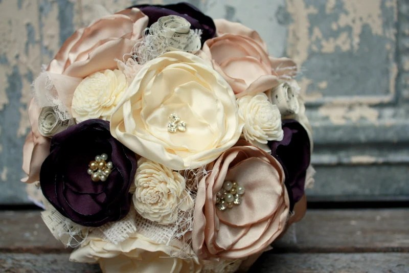 Champagne And Eggplant Fabric Flower Bridal Bouquet Plum