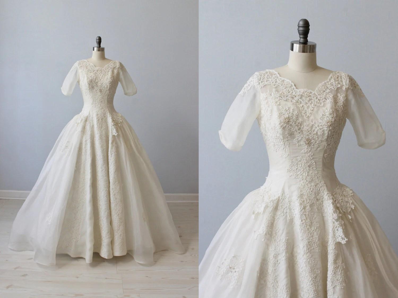 1950s Wedding Dress / Silk Organza Wedding By