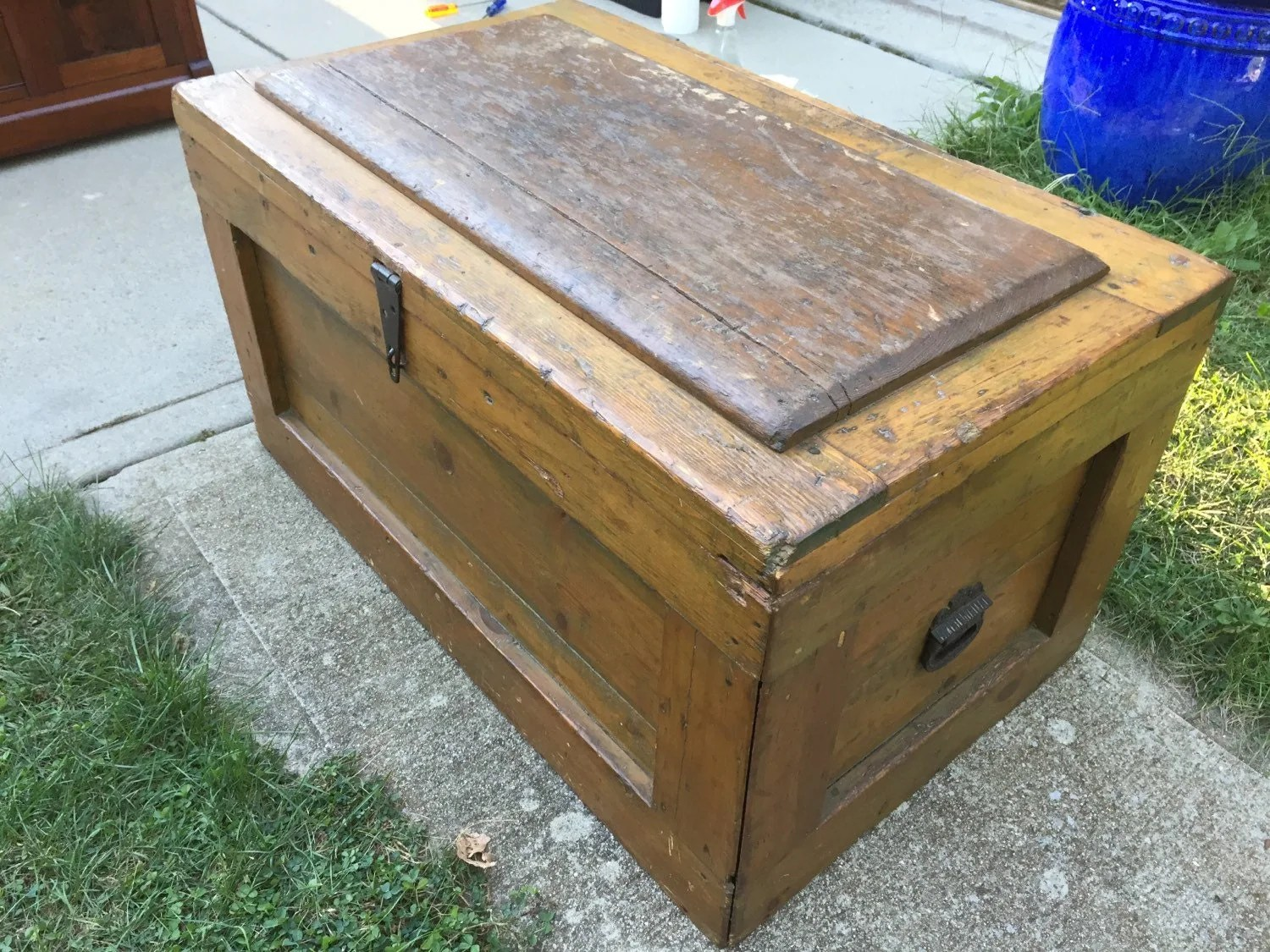 Antique carpenters tool box chest w h d hand made