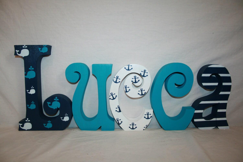 Whale Themed Nursery Decor Nautical Wood Letters 5 Letter Set