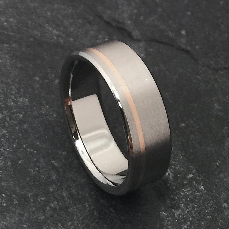Rose Gold And Titanium Ring Titanium Wedding Ring Mens
