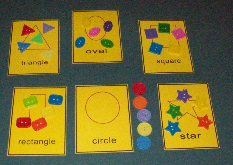 Buttons Shape Sorting Game Literacy Bag Center Preschool
