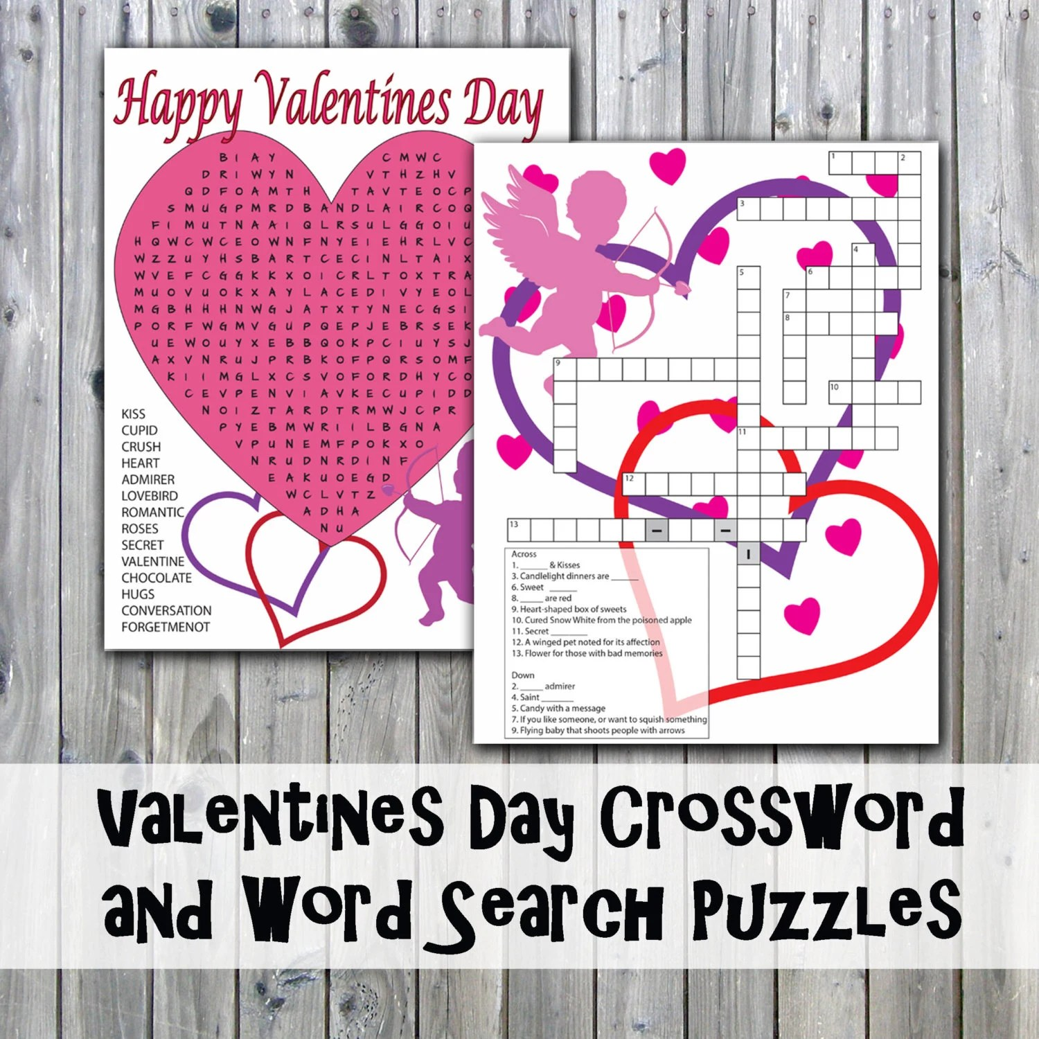 Valentines Day Crossword Puzzle And Word Search Party Game