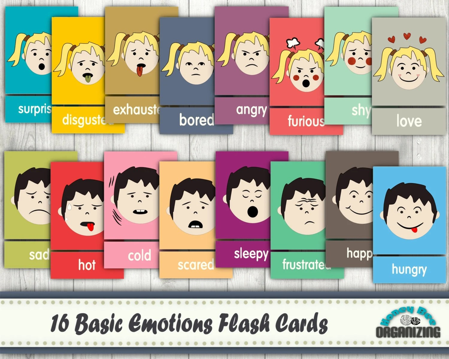 Emotions Flash Cards Basic Emotions Cards Blank Cards